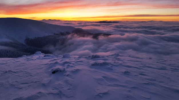 Sunset during the winter in carpathians