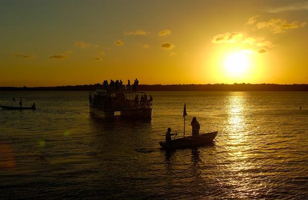 Sunset at the famous jacare beach, cabedelo, near joao pessoa, paraiba, brazil on april 04, 2001.