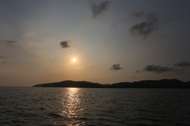 Sunset from the island in the sea.
