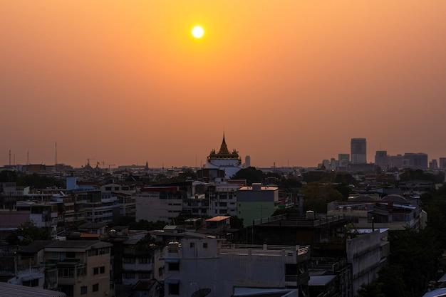 Sunset at golden mountain temple twilight sky in bangkok thailand