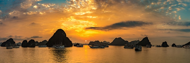 Sunset in halong bay, vietnam