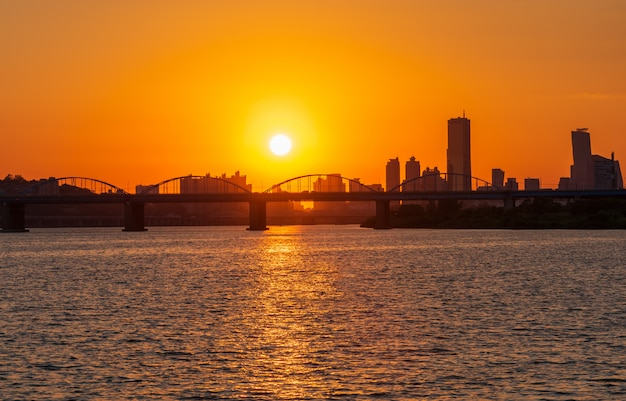 Sunset at han river in seoul city, south korea.