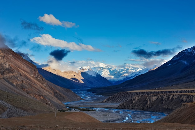 Sunset in himalayas. spiti valley