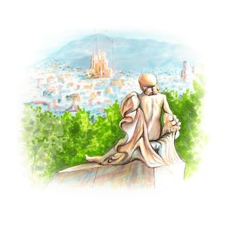 Закат в барселоне, вид с горы монжуик, каталония, испания. ручной обращается рисунок маркерами и вкладышем