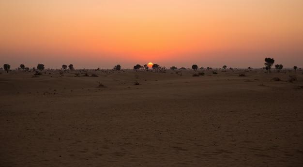 アラビアの砂漠の夕日