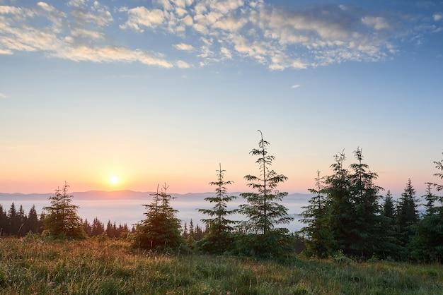 산 풍경에 일몰입니다. 극적인 하늘. 우크라이나 유럽의대로.