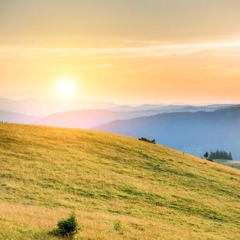 Закат в горах с лесом, зеленой травой и большим ярким солнцем на драматическом небе