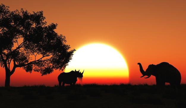 アフリカの風景の中にサイやゾウのレンダリング3d
