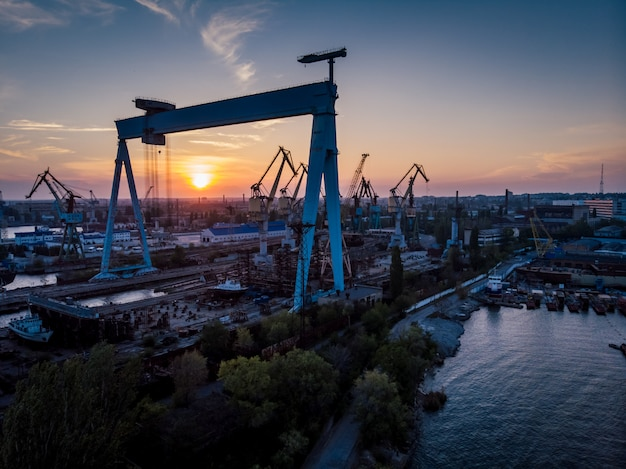 Sunset in industrial part of the city