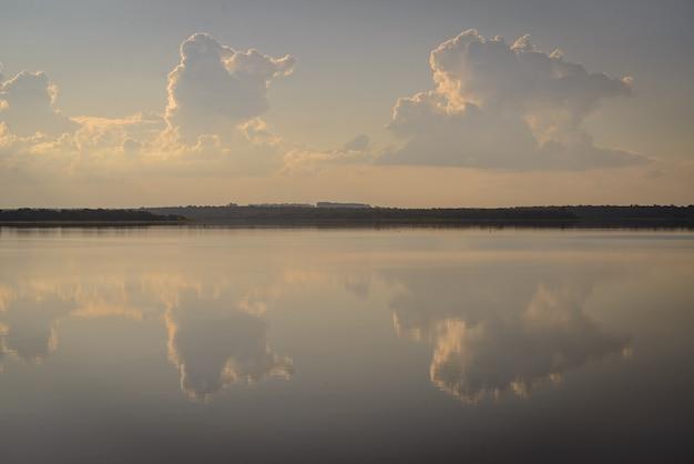 Sunset at itaipu dam lake foz do iguau parana brazil on may 19 2015