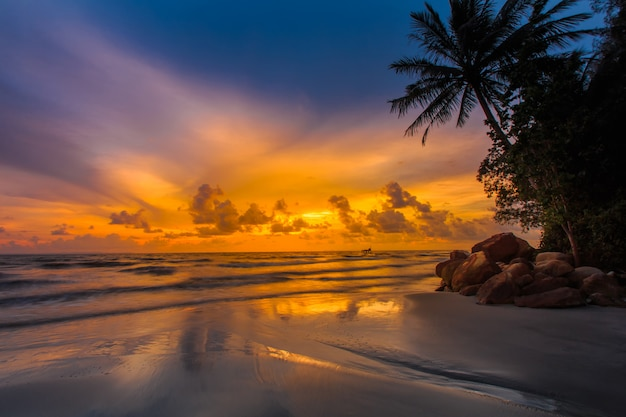 Sunset on the koh kong beach at cambudia.