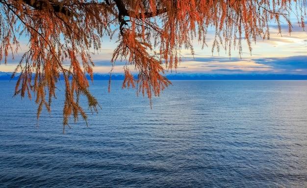 Sunset on lake baikal autumn