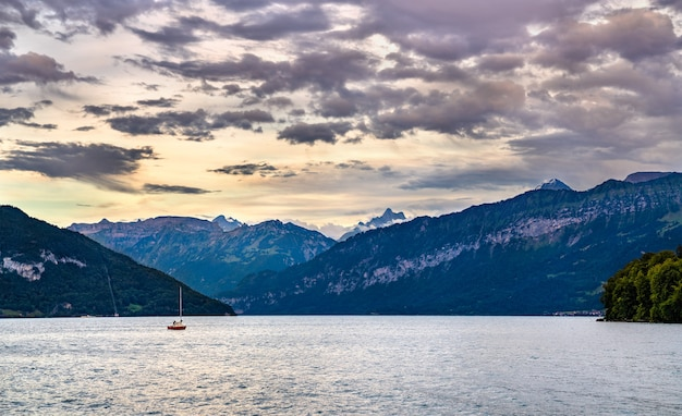 Sunset at lake thun in the bernese oberland region of switzerland