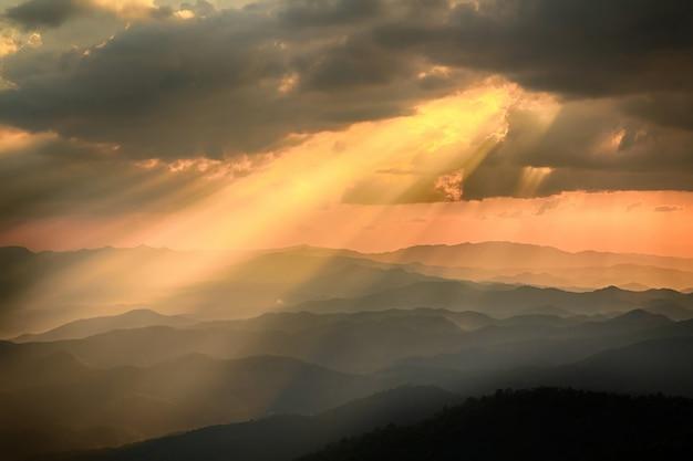 Sunset and light beam
