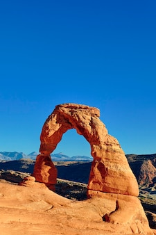 Sunset light on famous delicate arch