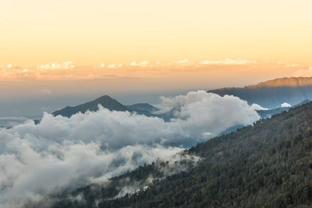Sunset above mountain and cloud at mount rinjani.