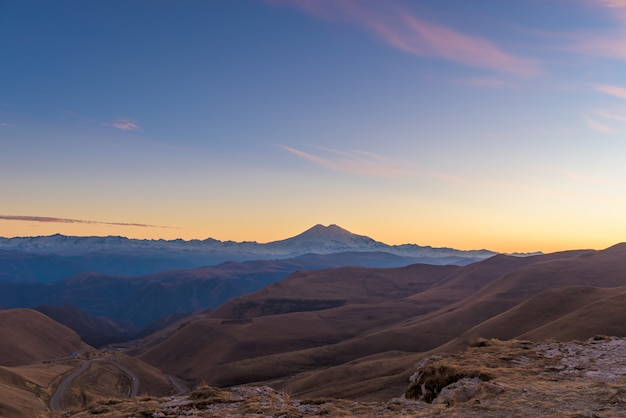 Sunset in the mountains of mount elbrus