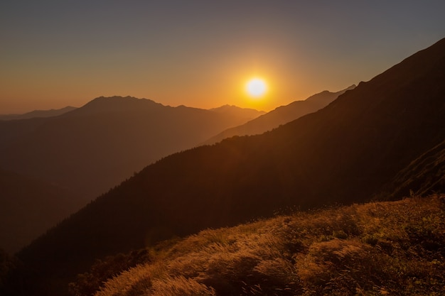 Sunset in the mountains a scenic natural landscape.