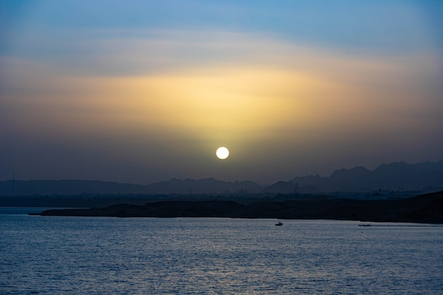 Sunset over the mountains, on the sinai peninsula, egypt, sharm el sheikh, red sea.