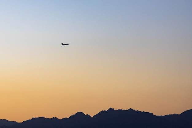 Sunset over the mountains in the south of sinai, sharm el sheikh, egypt.