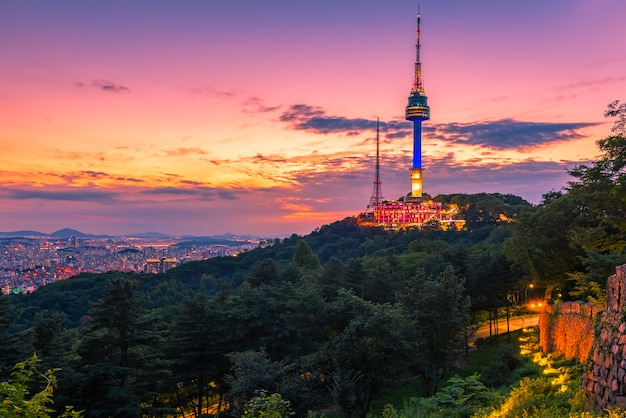 Sunset at namsan tower in seoul