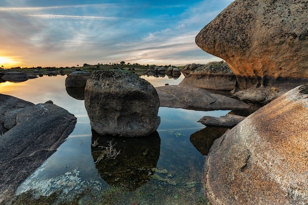 Sunset in the natural area of the barruecos. extremadura. spain.