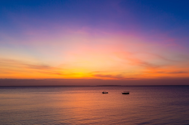 Sunset on ocean in zanzibar