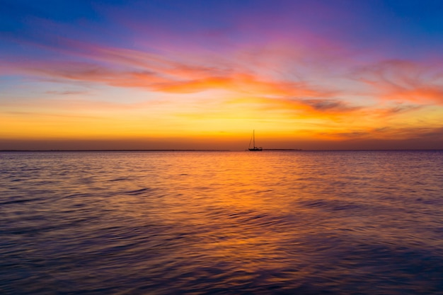 Sunset on ocean in zanzibar