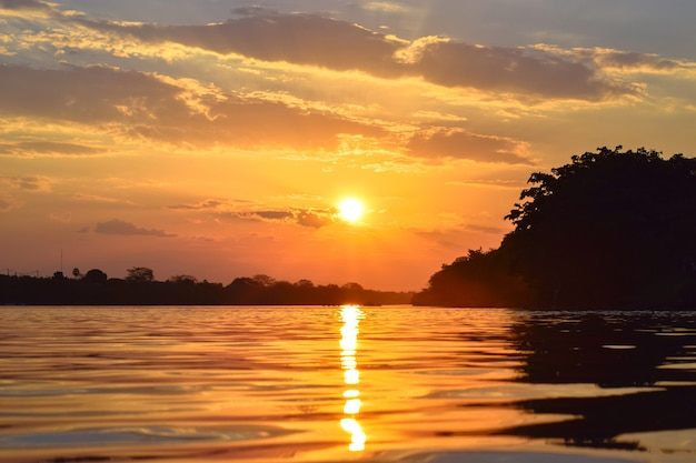 Sunset on the parnaba river in northeastern brazil