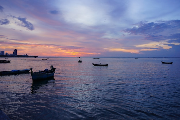 Sunset at pattaya city, thailand.