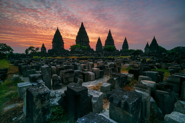 Sunset at prambanan temple