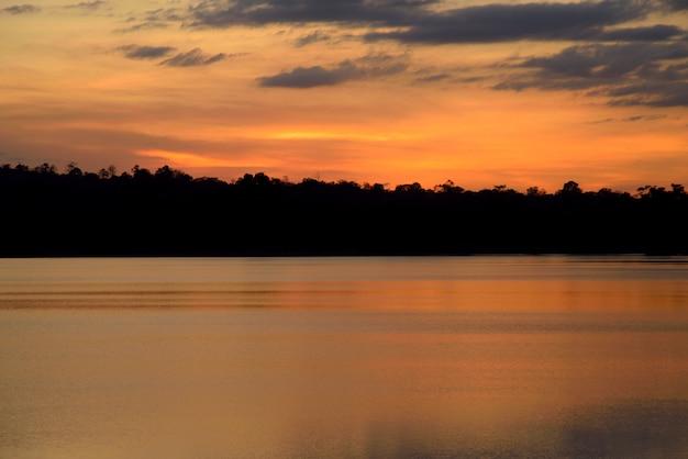 Sunset in river forest on light orange