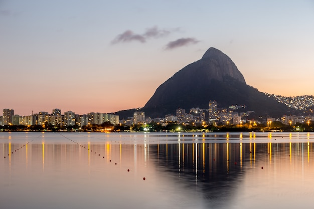 Sunset on the rodrigo de freitas lagoon in rio de janeiro brazil.