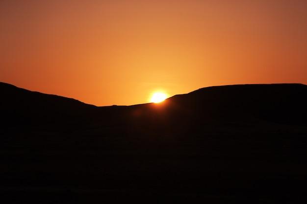 Sunset in the sahara desert in africa