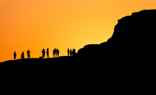 Sunset in scala dei turchi in sicily (italy) in fascinating silhouette.
