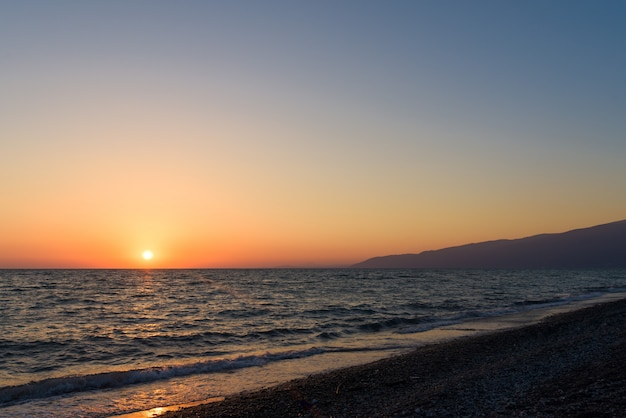 Sunset on the sea in abkhazia