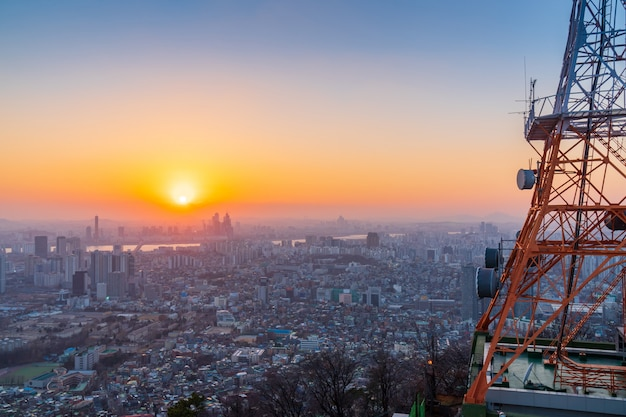 Sunset at seoul city skyline