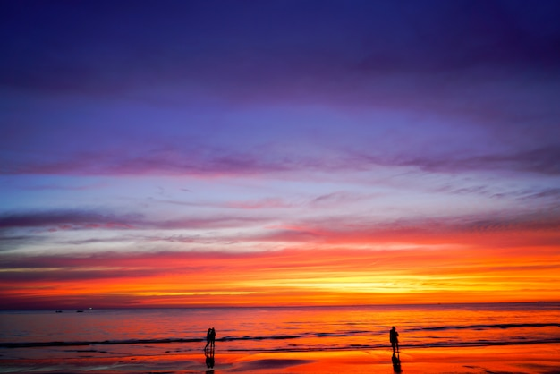 Sunset sky background on the beach in summer