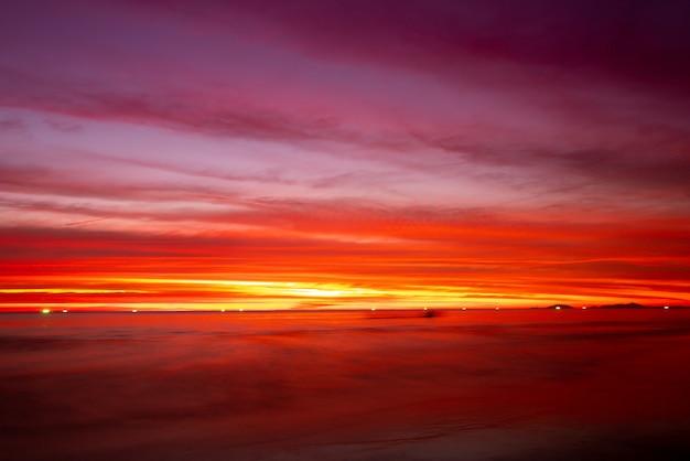 Sunset sky on the beach in summer