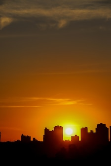 Sunset sky line in urban setting.