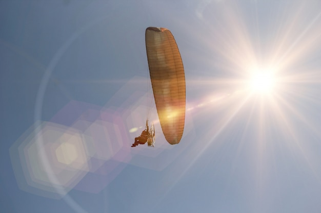 Sunset sky paramotor or paratrike