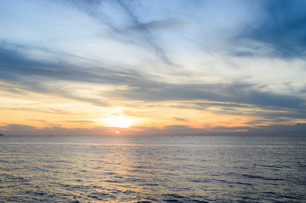 Sunset sky over the sea for nature background