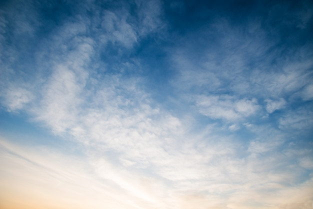 Sunset sky with white clouds