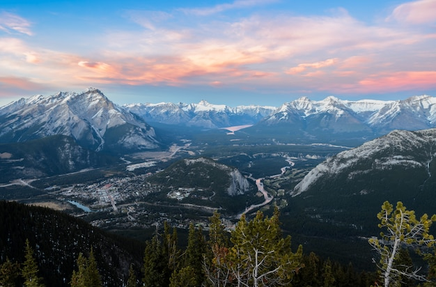 Sunset skyline of town of banff and bow valley, view from gondola sulphur mountain