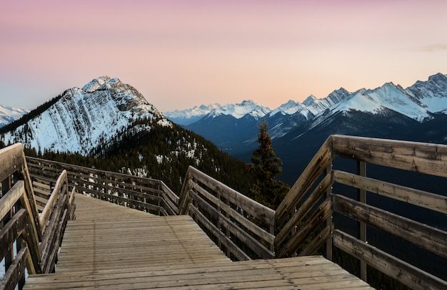 Sunset view of banff gondola pathway on sulphur mountain at banff national park in alberta, canada.