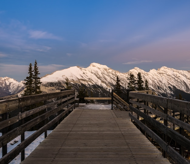 Sunset view of banff gondola pathway on sulphur mountain in canada
