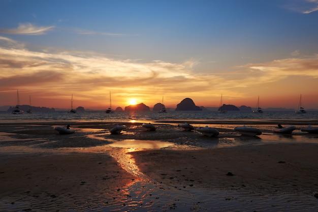 A sunset view from tubkaak beach, krabi, thailand.