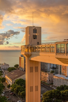 Sunset view at the lacerda elevator in salvador bahia brazil.