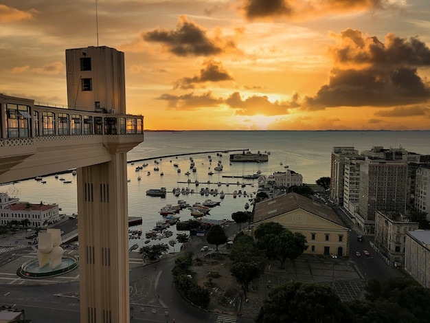 Sunset view of lacerda elevator salvador bahia brazil.