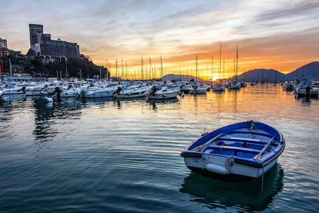 Sunset on the village of lerici and its coast